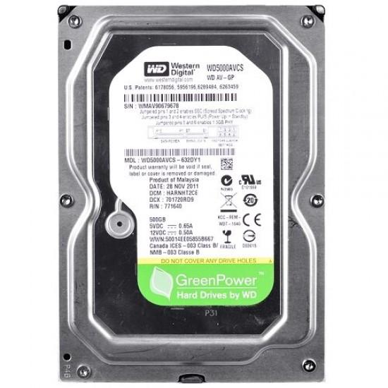 W D 500GB (Green) SATA Hard Drive (WD5000AVCS) For (Desktop)