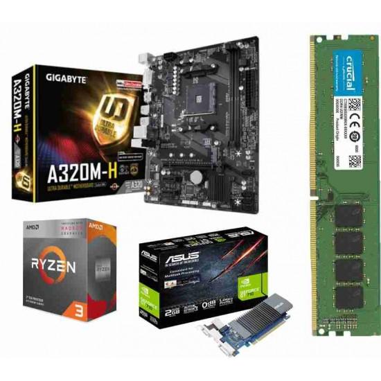 AMD Ryzen 3100 Processor / Gigabyte A320 M-H / Ram 8 Gb DDR 4 / 2gb Graphic Card - (710 ) Motherboard Combo