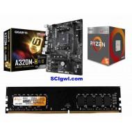 AMD Ryzen 3200G Processor / Gigabyte A 320 Mother board / Ram 8 Gb DDR 4 Combo
