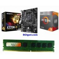 AMD Ryzen 3200G Processor / Gigabyte A 320 Mother board / Ram 4 Gb DDR 4 Combo