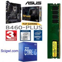 Asus B-460 M -Plus Tuff Gaming + Core I 5-10400 + Ram 8 GB DDR 4 Motherboard Combo