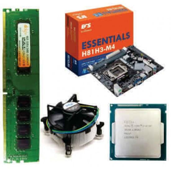 ECS H 81 Mother board + Core I -3 (IVth Generation) + 4 GB DDR3 + Fan