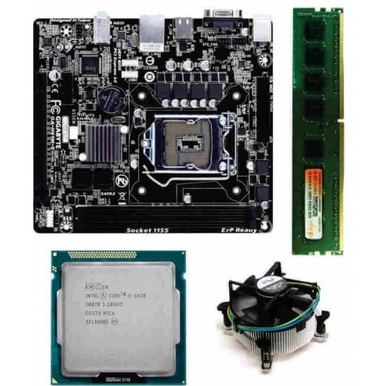Gigabyte 61 Mother board + Core I -5 (IIIrd ) -3470 S Processor + 4 GB DDR3 + Fan