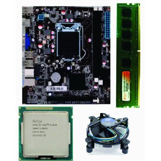 H 61 Mother board + Core I-3 (IIIrd Generation) + 4 GB DDR3 + Processor Fan