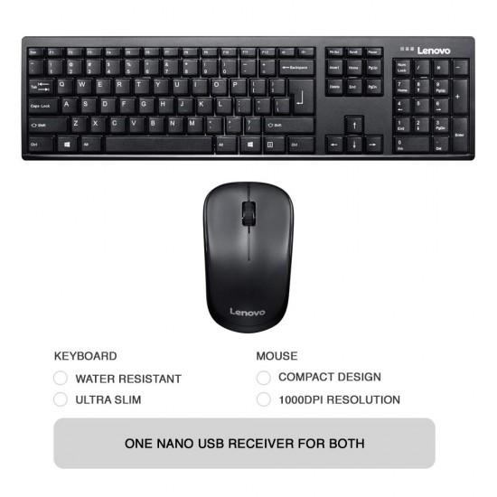 Lenovo 100 Wireless Keyboard & Mouse Ultra slim Combo