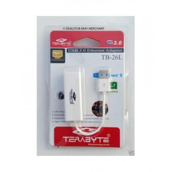 Terabyte USB 2.0 Ethernet Adapter TB-26L USB to RJ45 Ethernet LAN Adapter (White)