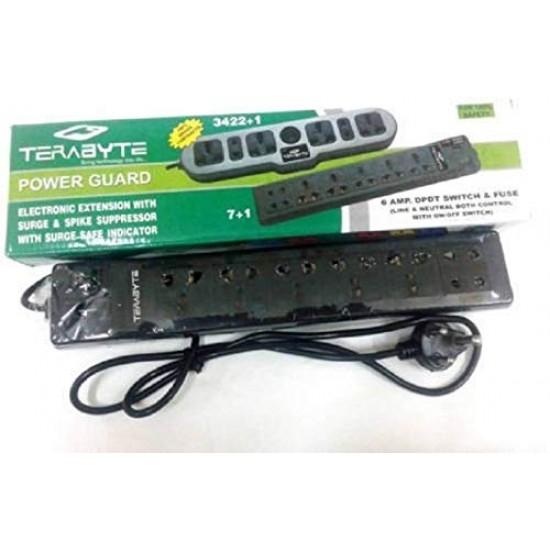 Terabyte 3422+1 6 Socket Surge Protector (Black)