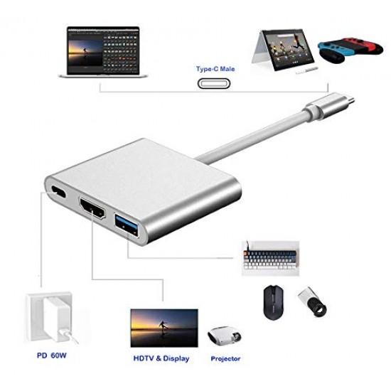 Usb 3.1 Type C to HDMI Converter, converts Type C HUB to HDMI 4K+USB 3.0+USB-C Charging Port