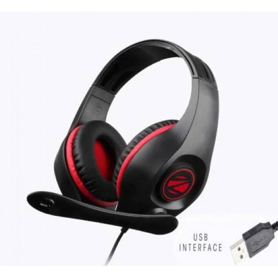 Zebronocs ZEB-GRACE U USB wired Headphone (Black, Red, On the Ear)