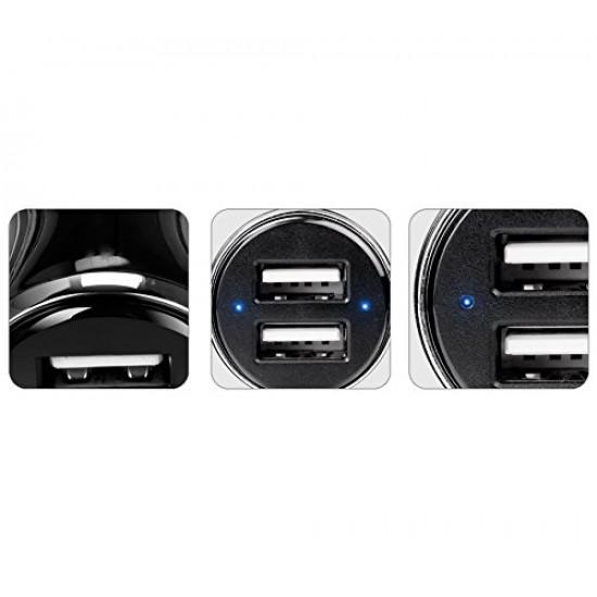 Zebronics ZEB-CC32A Dual-Port USB LED Indicator with Smart IC Fast Car Charger - Black